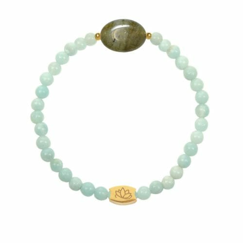 Mas Jewelz Amazonit Armband mit Labradorit Oval Gold