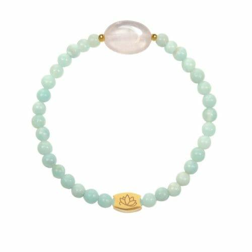 Mas Jewelz Amazonit Armband mit Rosenquartz Oval Gold