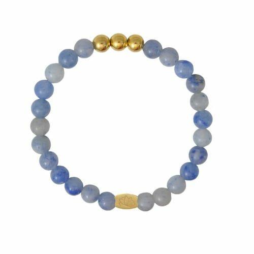 Mas Jewelz 6 mm Blue Quartz Gold