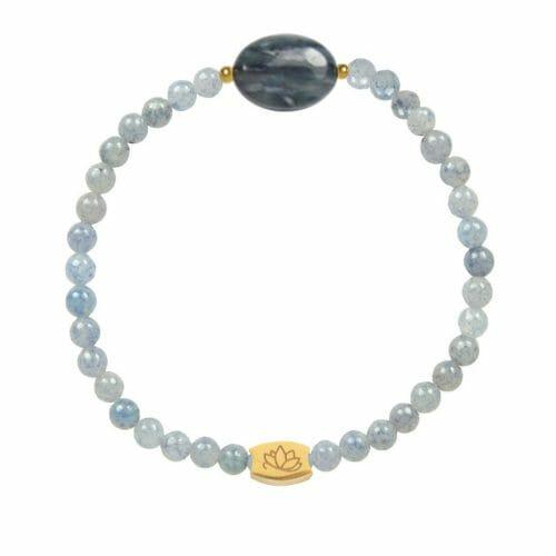 Mas Jewelz Blue Quartz bracelet with Blue Quartz oval Gold