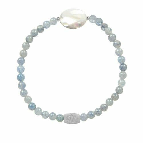 Mas Jewelz Blauwe Kwarts armband met Mother of Pearl ovaal Zilver