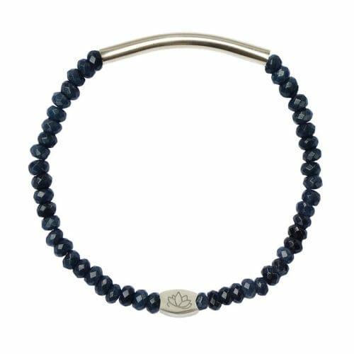 Mas Jewelz 3/4 Facet Blauwer Achat mit Röhrchen glänzend Silber