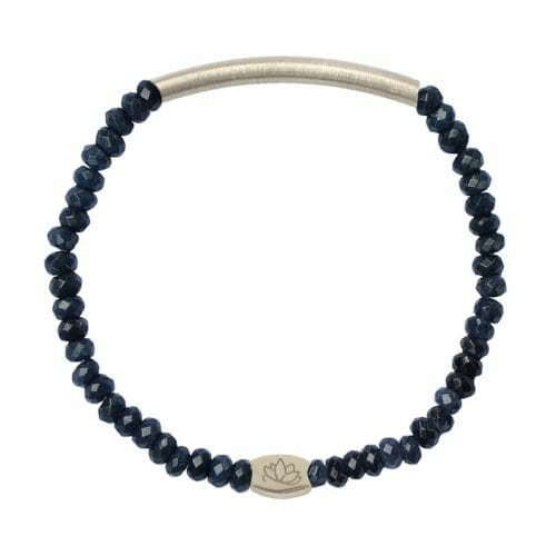 Mas Jewelz 3/4 Facet Blue Agate with Tube mat Silver