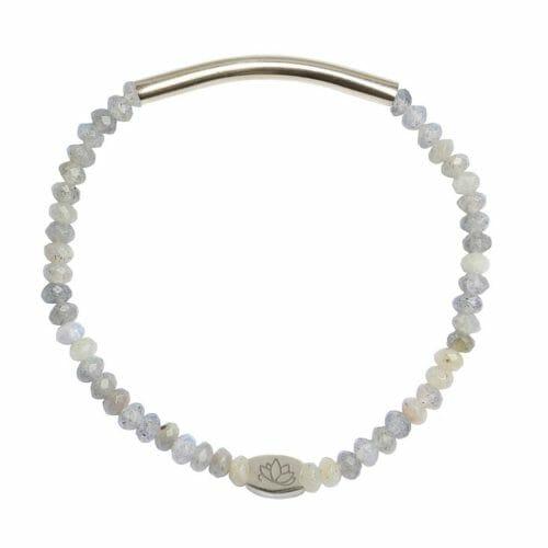 Mas Jewelz 3/4 Facet Labradorite with Tube shiny Silver
