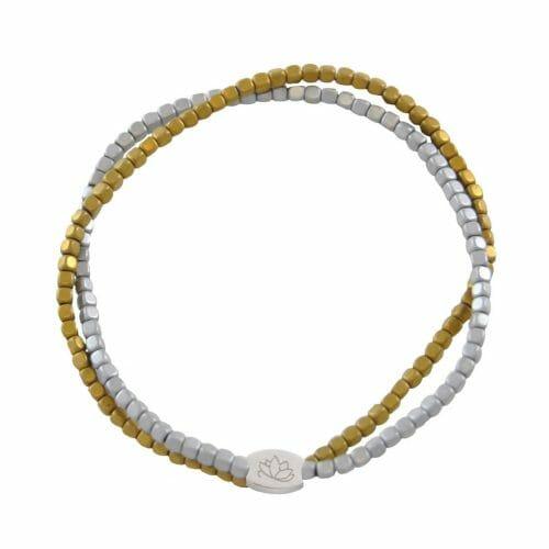 Mas Jewelz bracelet double Hematite Bicolor mat Silver