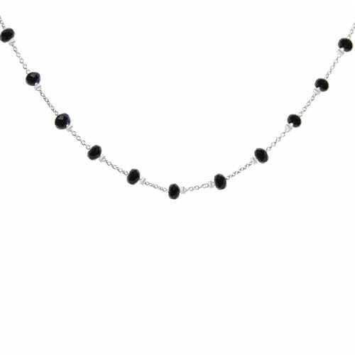 Mas Jewelz necklace Facet Blackstone 1 cm Silver