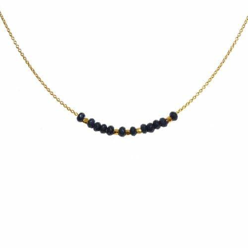 Mas Jewelz necklace 3/4 facet Blue Agate Gold
