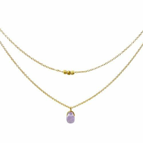 Mas Jewelz necklace Bail double Light Amethyst Gold