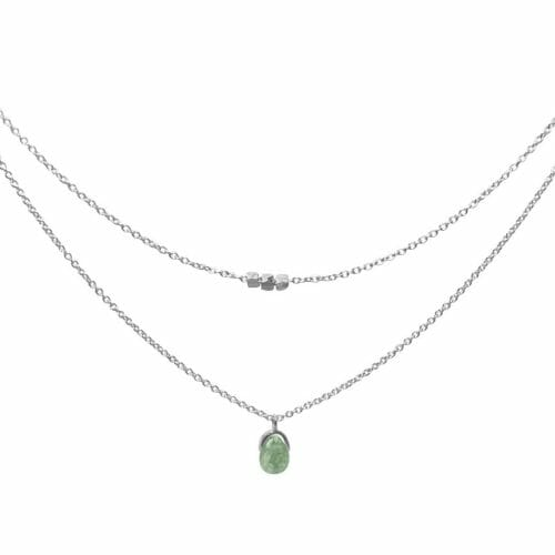 Mas Jewelz necklace Bail double Moss Agate Silver