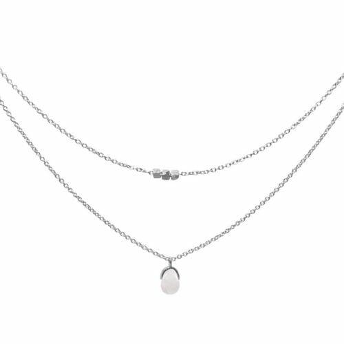 Mas Jewelz necklace Bail double Rose Quartz Silver