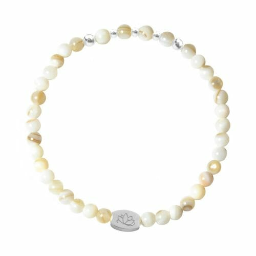 Mas Jewelz 4 mm Mother of Pearl Model 2 Silver