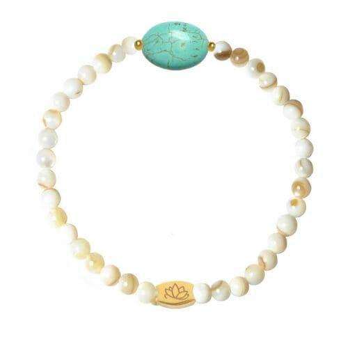 Mas Jewelz Perlmutt Armband mit Türkis Oval Gold
