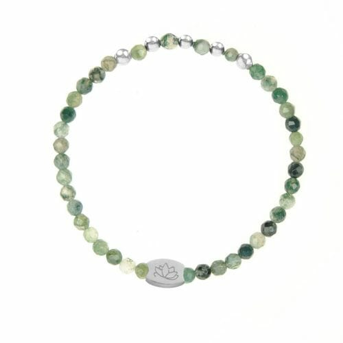 Mas Jewelz Special Facet Moss Agate Model 2 Silver
