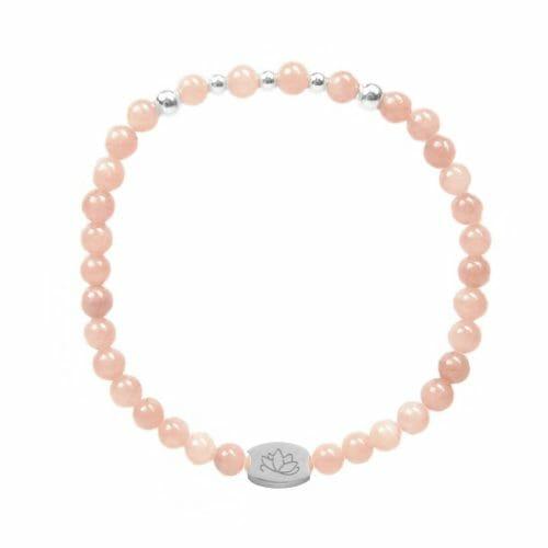 Mas Jewelz 4 mm Pink Opal Model 2 Silver