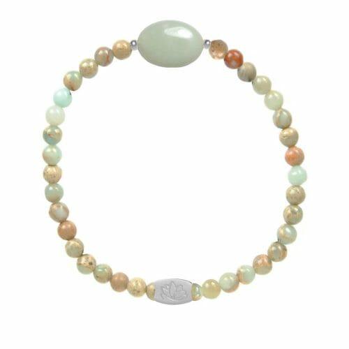 Mas Jewelz Serpentine bracelet with Amazonite oval Silver