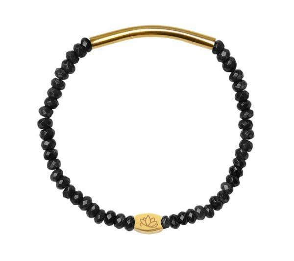 Mas Jewelz 3/4 Facet Blackstone with Tube shiny Gold