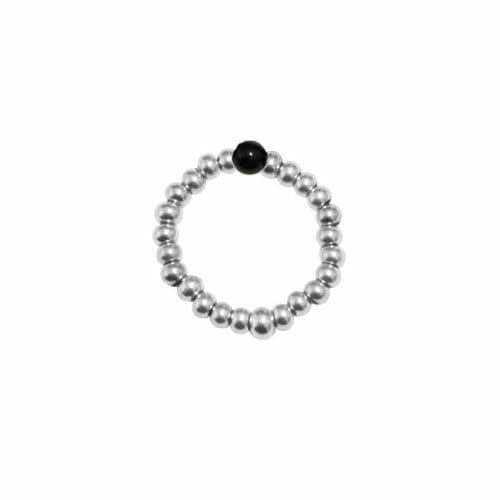 Mas Jewelz Ring 3 mm Blackstone Model 2 Silver