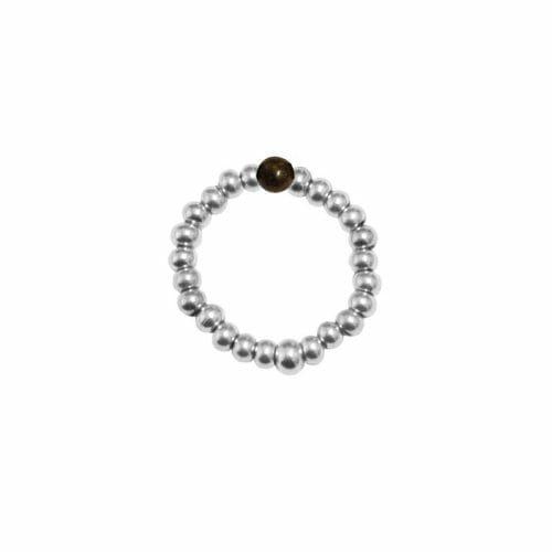 Mas Jewelz Ring 3 mm Bronzite Model 2 Silver