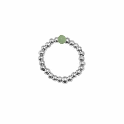 Mas Jewelz Ring 3 mm Green Aventurine Model 2 Silver