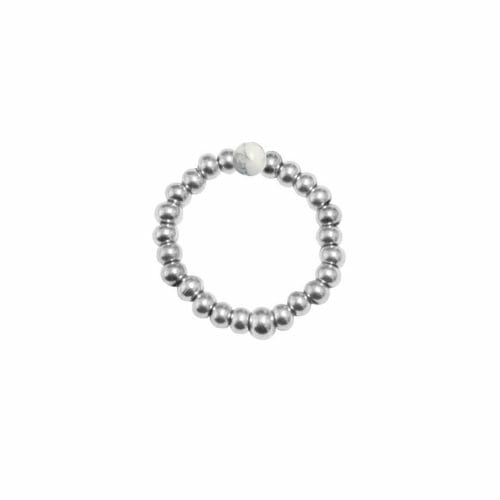Mas Jewelz Ring 3 mm Howlite Model 2 Silver