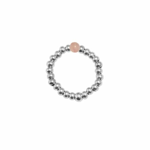 Mas Jewelz Ring 3 mm Rose Quartz Model 2 Silver