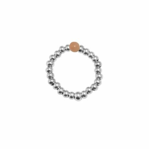 Mas Jewelz Ring 3 mm Pink Opal Model 2 Silver