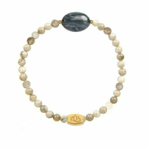 Mas Jewelz Silver Leaf Jasper bracelet with Blue Quartz oval Gold