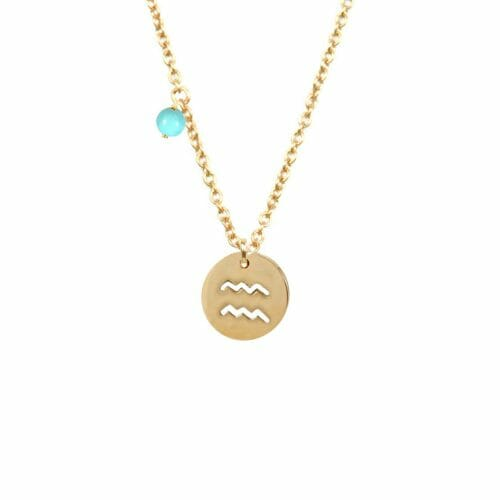 Mas Jewelz Sternzeichen Kette mit Geburtsstein Wassermann Gold