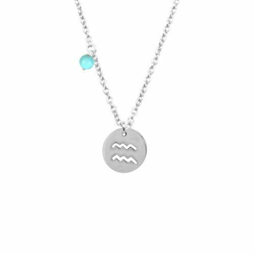 Mas Jewelz Sternzeichen Kette mit Geburtsstein Wassermann Silber