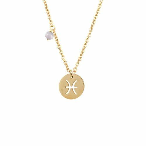 Mas Jewelz Sternzeichen Kette mit Geburtsstein Fische Gold