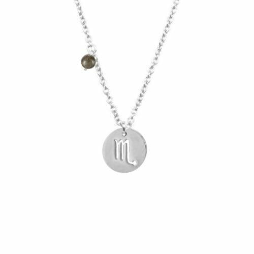 Mas Jewelz Sternzeichen Kette mit Geburtsstein Skorpion Silber