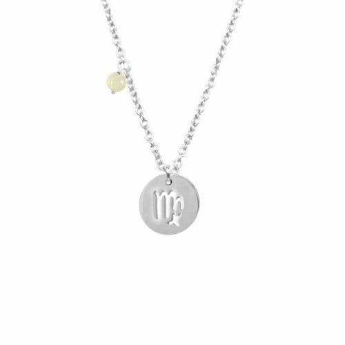 Mas Jewelz Sternzeichen Kette mit Geburtsstein Jungfrau Silber