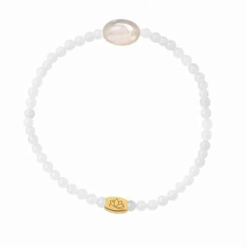 Mas Jewelz 3 mm Jade bracelet with small Rose Quartz oval Gold