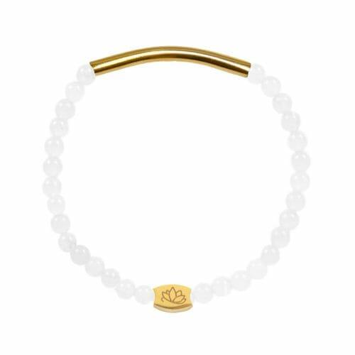 Mas Jewelz 4 mm Armband Jade mit Röhrchen glänzend Gold