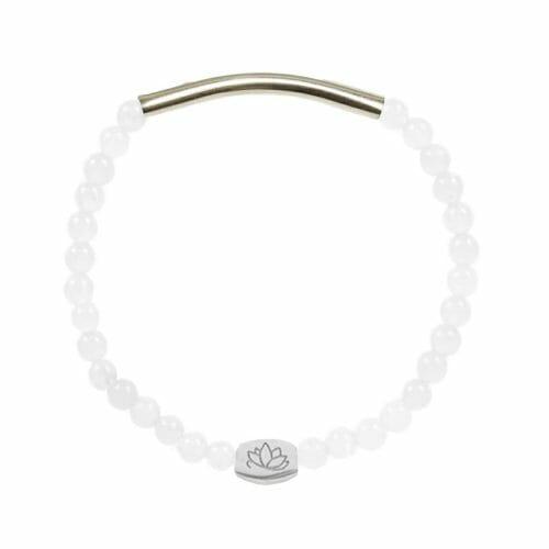 Mas Jewelz 4 mm Armband Jade mit Röhrchen glänzend Silber