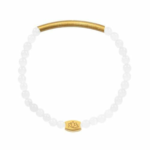 Mas Jewelz 4 mm Armband Jade mit Röhrchen mat Gold